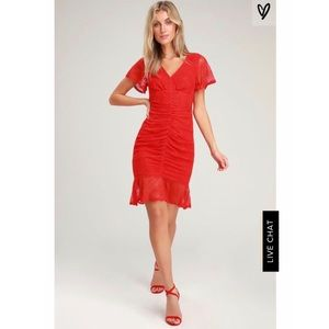 Lulu's Red Lace Ruched Dress